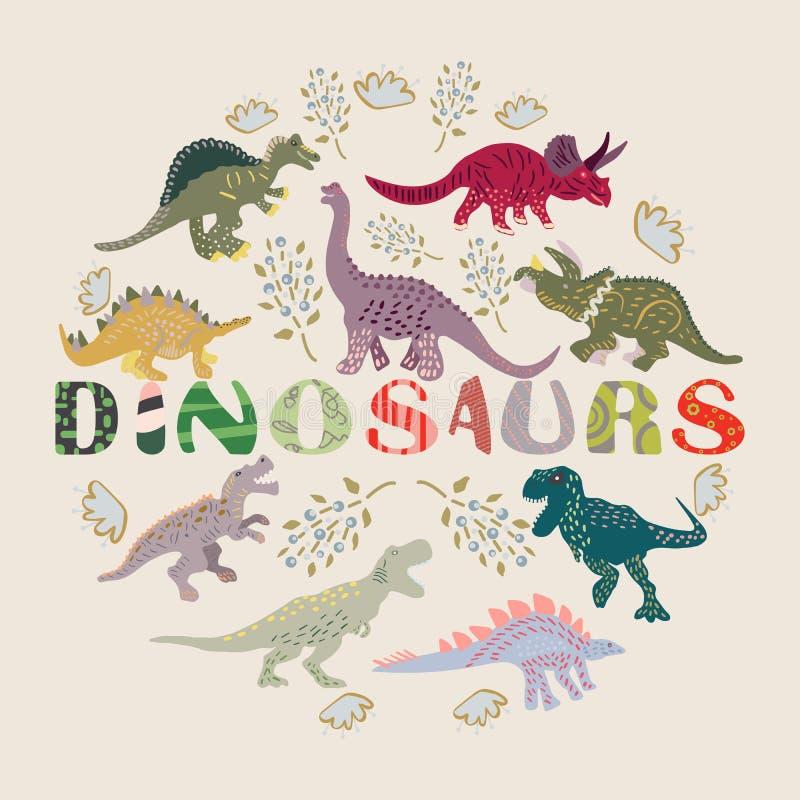 Dinosaures manuscrits de mot avec les caractères tirés par la main de dinosaure illustration stock
