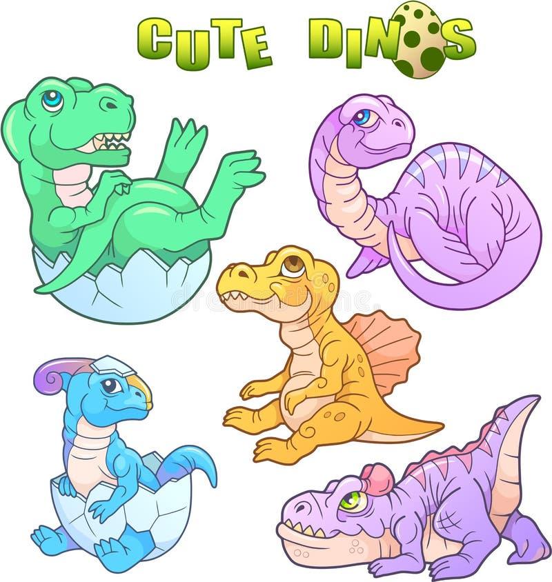Dinosaures mignons réglés des images illustration de vecteur