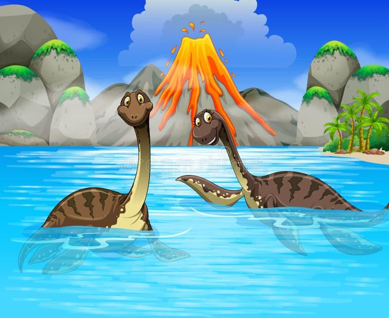 Dinosaures nageant dans le lac illustration libre de droits