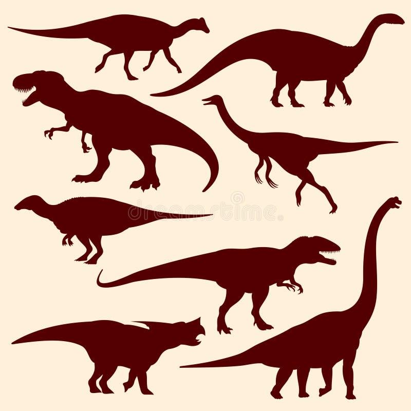 Dinosaures, silhouettes fossiles de vecteur de reptiles illustration stock