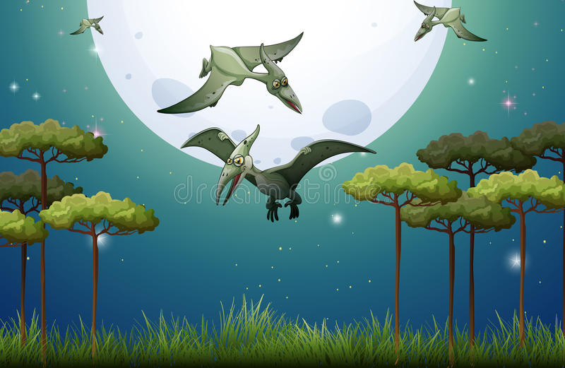 Dinosaures volant la nuit de fullmoon illustration de - Dinosaur volant ...