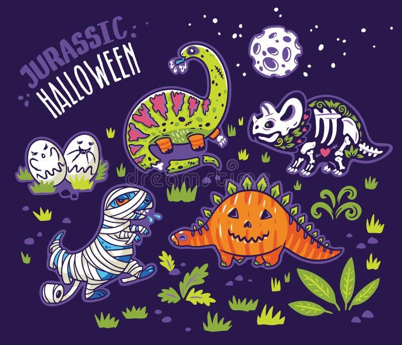 Dinosauri in costumi per Halloween Insieme di vettore dei caratteri illustrazione di stock