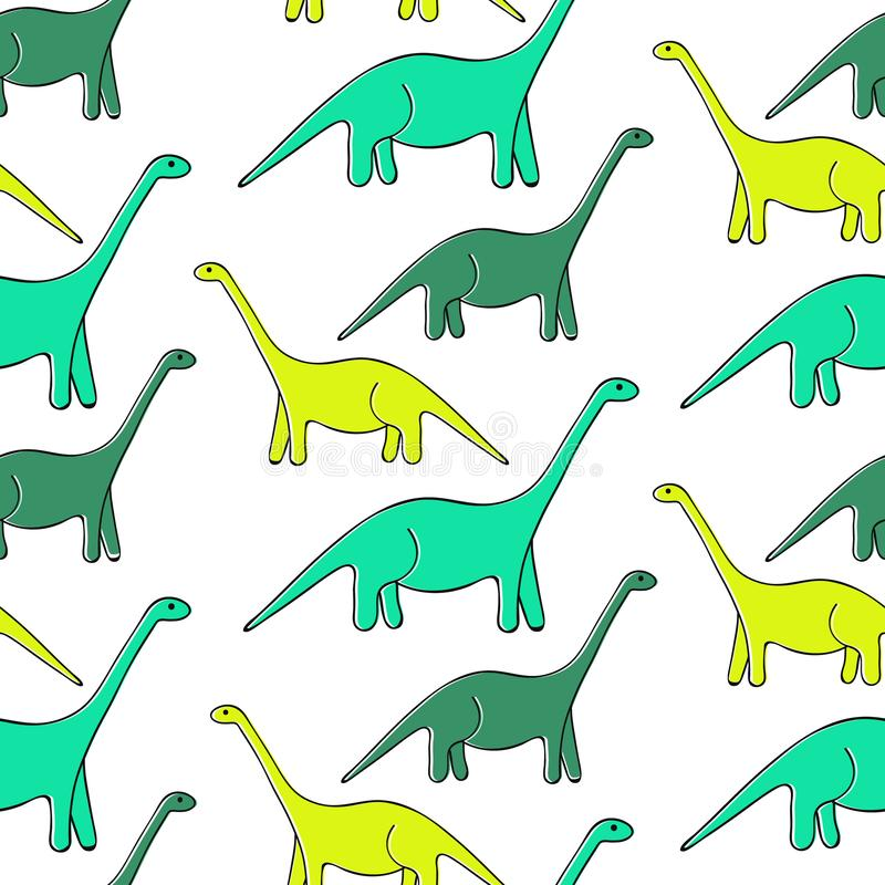 Dinosauri del fumetto su fondo bianco, modello senza cuciture illustrazione di stock