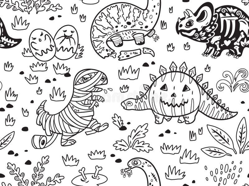 Dinosauri dell'inchiostro in costumi per Halloween Insieme di vettore dei caratteri illustrazione di stock