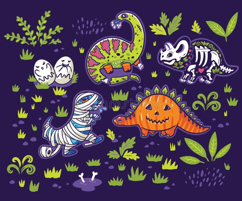 Dinosauri dell'inchiostro in costumi per Halloween Insieme di vettore dei caratteri illustrazione vettoriale