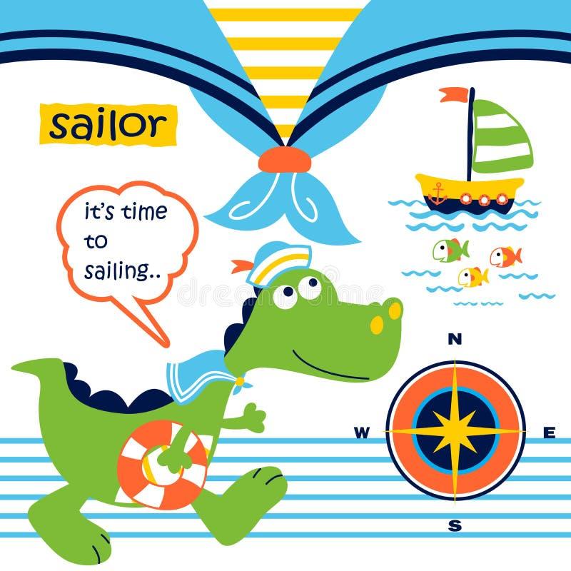 Dinosauri il marinaio divertente con l'attrezzatura di navigazione, illustrazione del fumetto di vettore illustrazione vettoriale