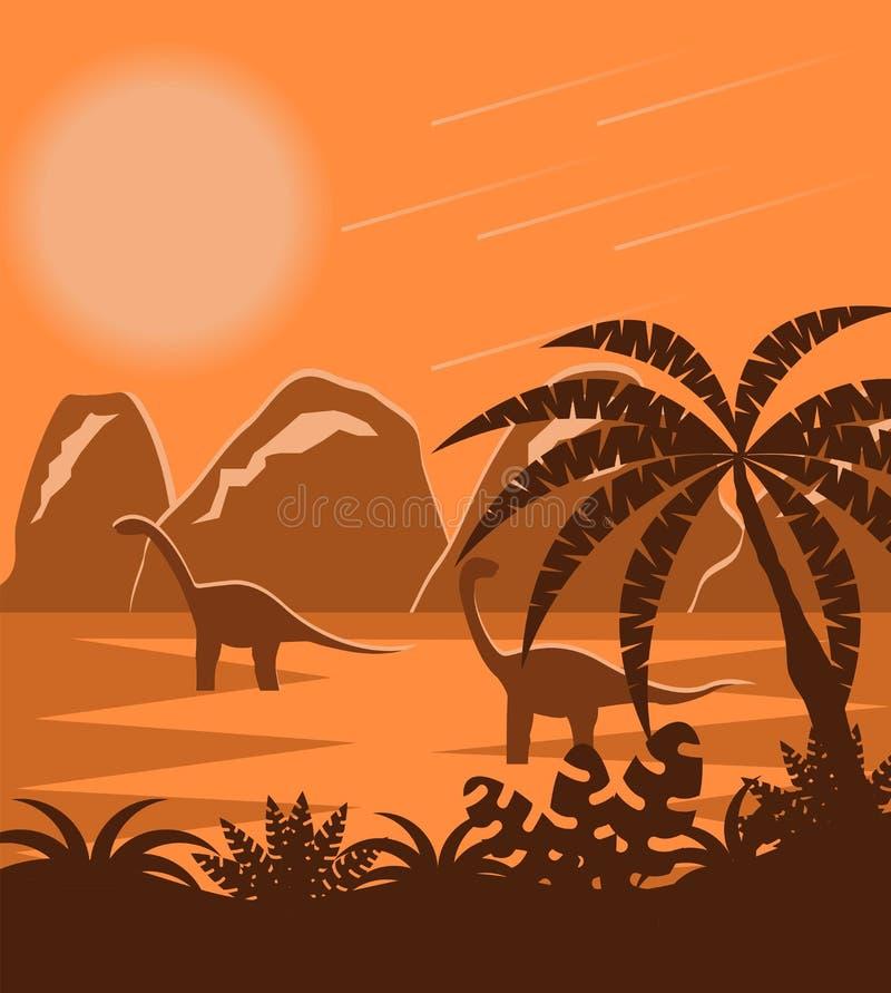Dinosauri nel paesaggio piano preistorico di Jurassic Park illustrazione di stock