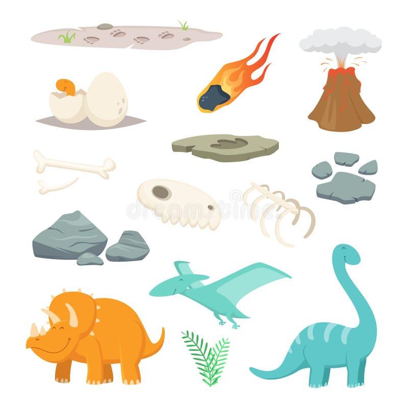 Dinosauri, pietre ed altri simboli differenti del periodo preistorico illustrazione di stock