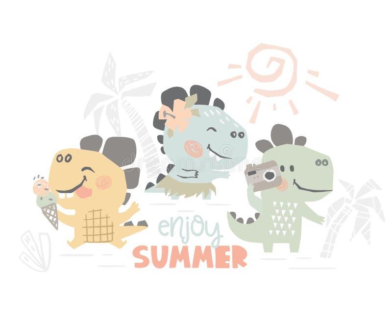 Dinosauri sulla stampa sveglia del bambino della spiaggia Svago dolce di estate di Dino illustrazione vettoriale