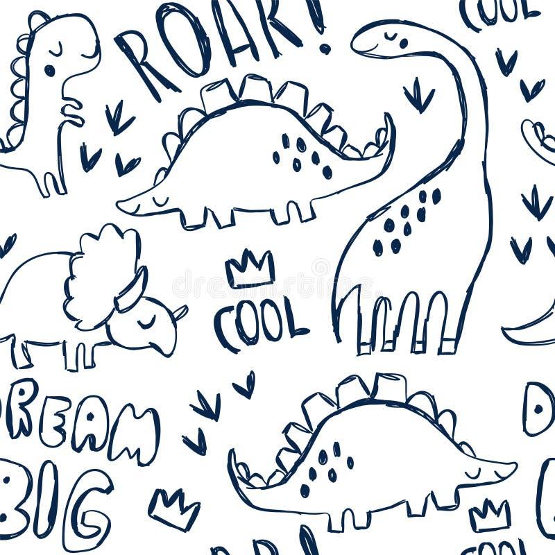 Dinosauri svegli e segnare modello con lettere senza cuciture illustrazione di stock