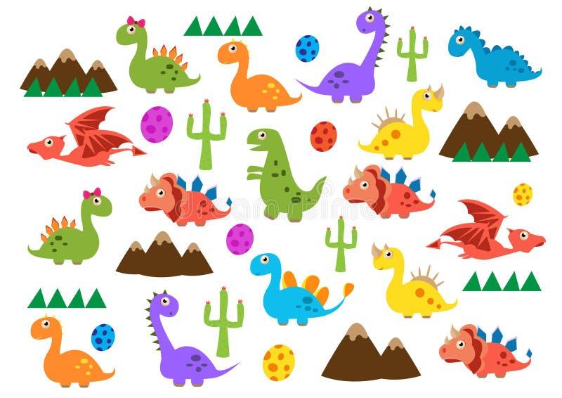 Dinosauri svegli Illustrazione di vettore degli animali giurassici Modello senza cuciture del fumetto su un fondo giallo Può esse royalty illustrazione gratis
