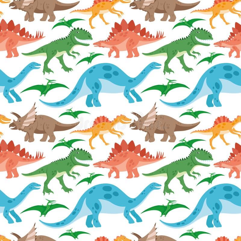Dinosauri svegli su un fondo bianco royalty illustrazione gratis