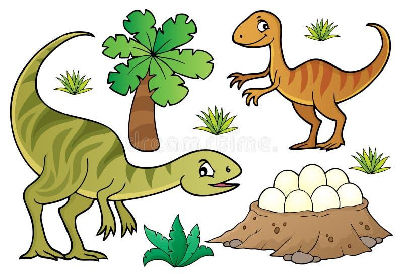 Dinosaurieämneuppsättning 7 vektor illustrationer