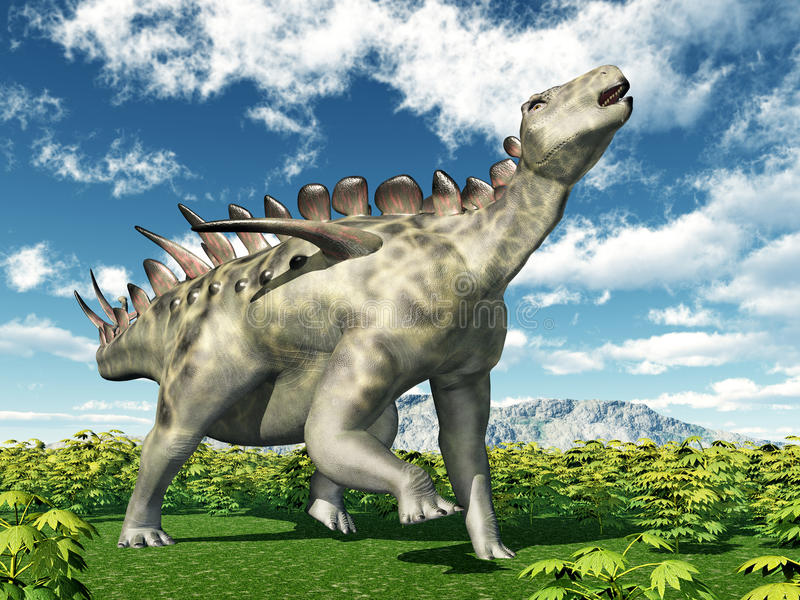 Dinosaurie Huayangosaurus stock illustrationer