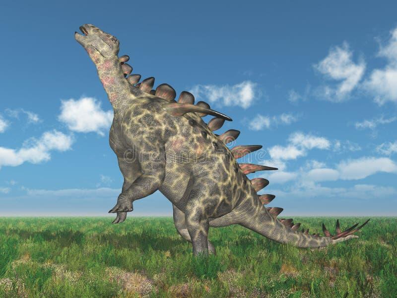 Dinosaurie Huayangosaurus i ett landskap vektor illustrationer