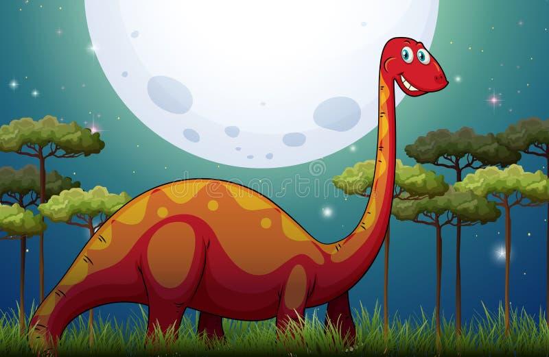 Dinosaurie i fältet på natten stock illustrationer