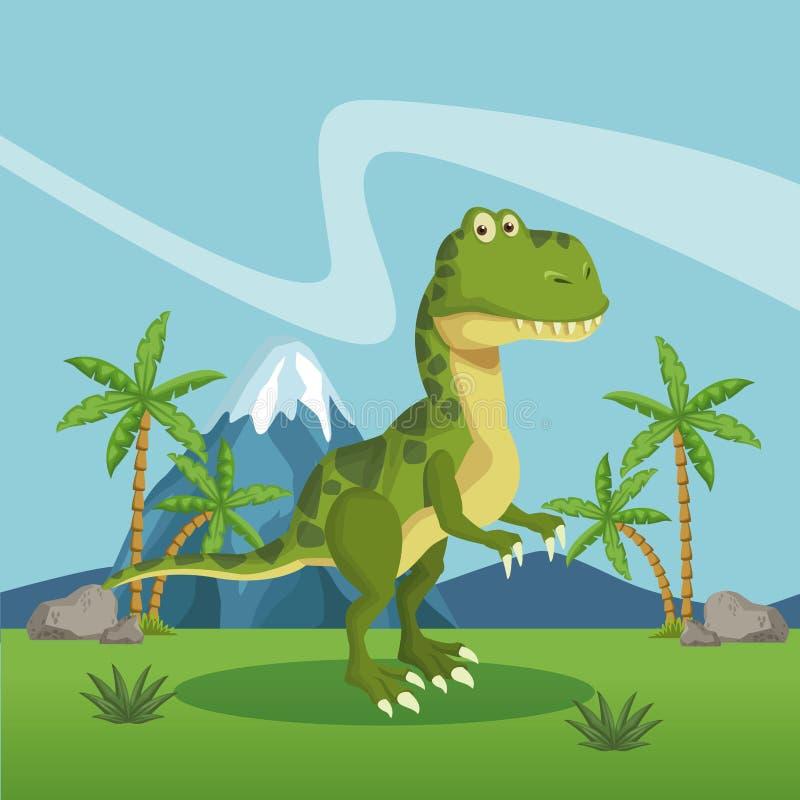 Dinosaurie i skogen royaltyfri illustrationer