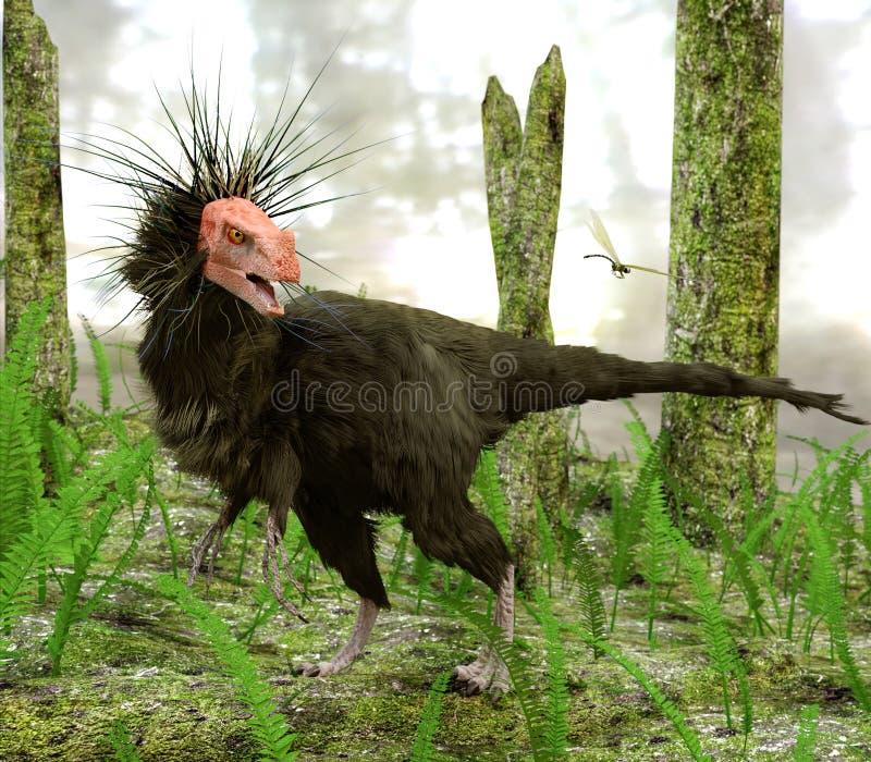 Dinosaurie Ornitholestes i träskskog stock illustrationer
