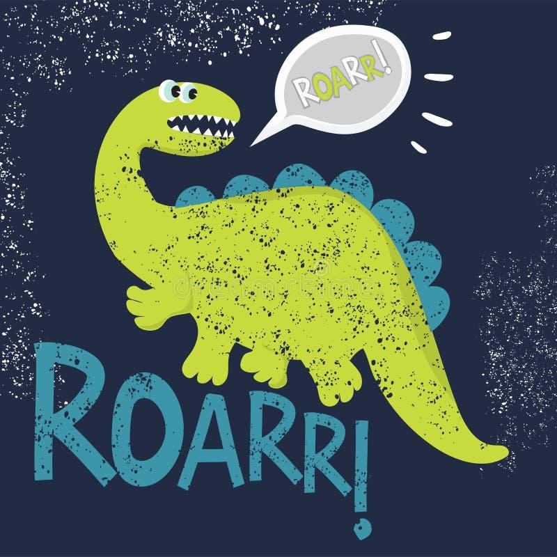 Dinosaurie som är kall på en mörk bakgrund stock illustrationer