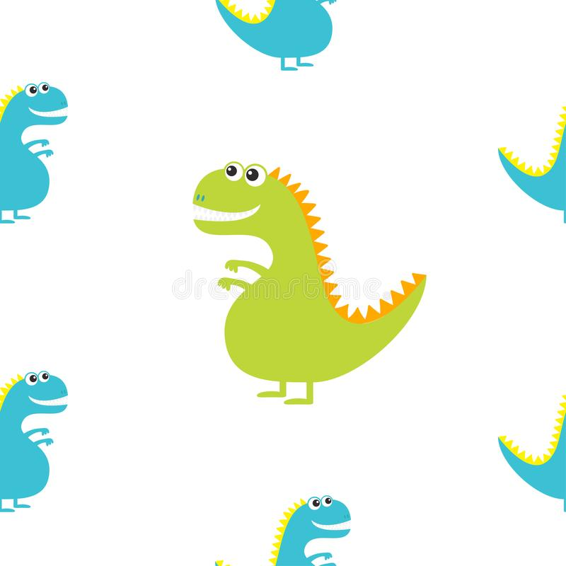 Dinosaurie som isoleras på vit bakgrund Den gulliga tecknade filmen roliga dino behandla som ett barn teckenet Plan design seamle royaltyfri illustrationer