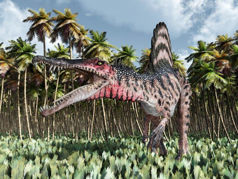 Dinosaurie Spinosaurus i djungeln vektor illustrationer