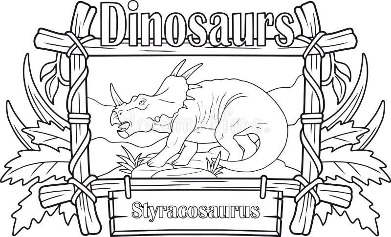 Dinosaurie styracosaurus, färgläggningbok royaltyfri illustrationer