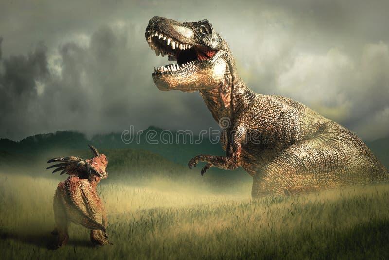 Dinosaurie Styracosaurus med tyrannosarien T-rex stock illustrationer