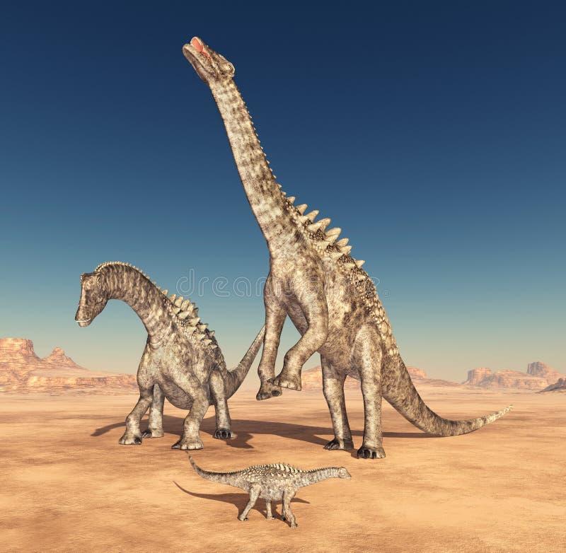 DinosaurieAmpelosaurus i öknen royaltyfri illustrationer