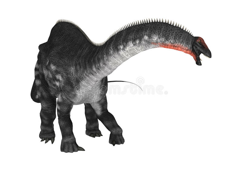 DinosaurieApatosaurus på vit stock illustrationer