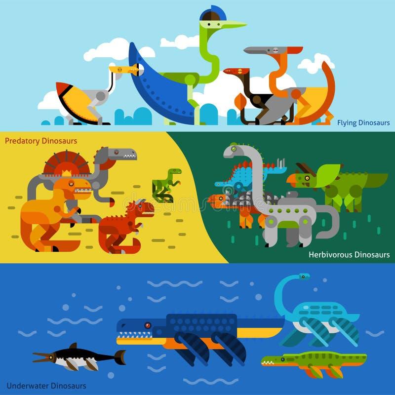 Dinosauriebaneruppsättning royaltyfri illustrationer