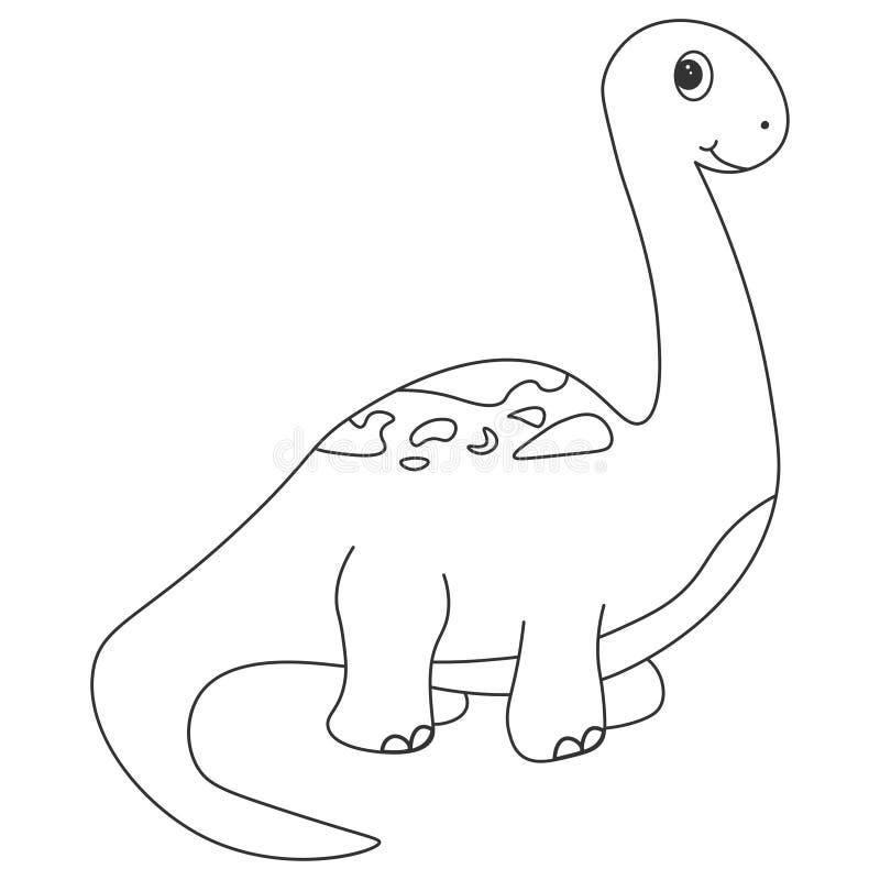 Dinosauriebrachiosauruskontur Tecknad filmnatur royaltyfri illustrationer