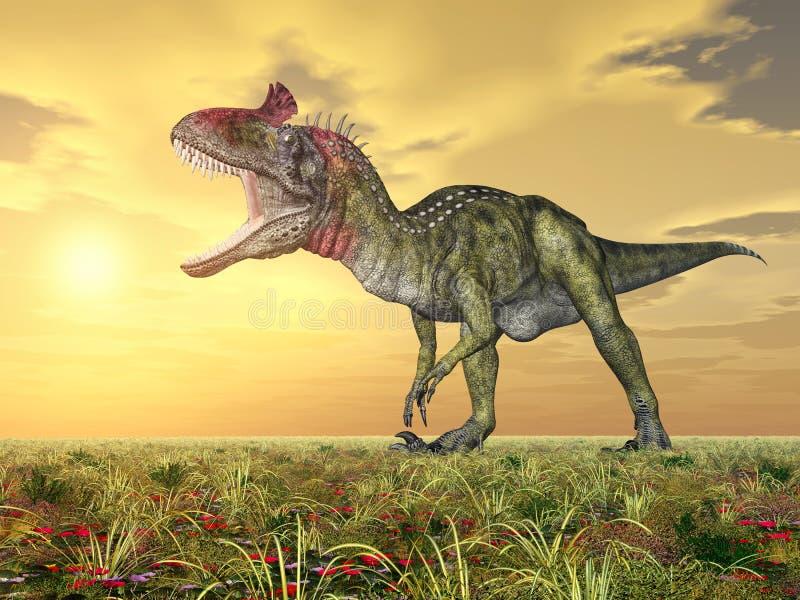 DinosaurieCryolophosaurus royaltyfri illustrationer