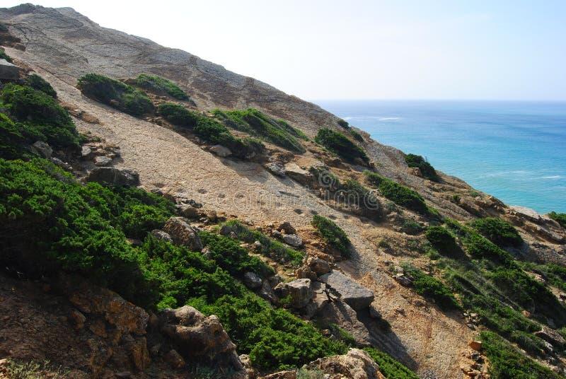 Dinosauriefotspår i Cabo Espichel, Portugal arkivbild