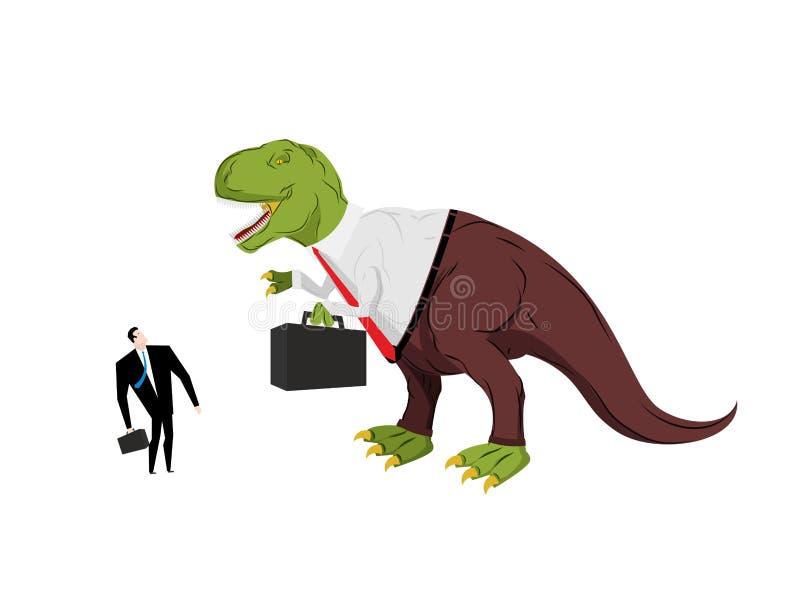 Dinosaurieframstickande som skriker på underordnaden Ilskna Dino Chief royaltyfri illustrationer