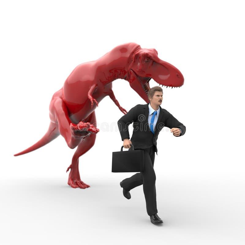 Dinosauriejakt för en affärsman royaltyfri illustrationer
