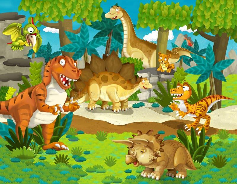 Dinosaurielandet - illustration för barnen stock illustrationer