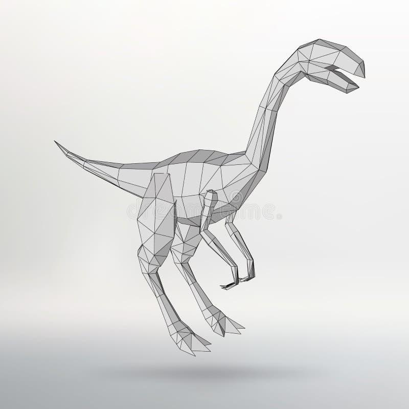 DinosauriemodellVector illustration Polygontriangel Det strukturella rastret av polygoner Abstrakt idérik begreppsbakgrund royaltyfri illustrationer