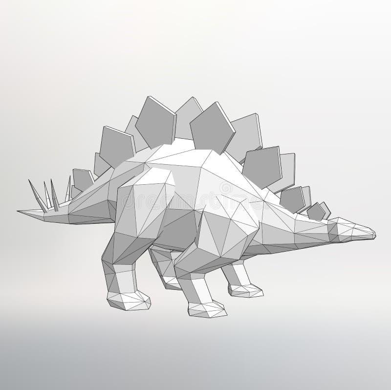 DinosauriemodellVector illustration Polygontriangel Det strukturella rastret av polygoner Abstrakt idérik begreppsbakgrund stock illustrationer