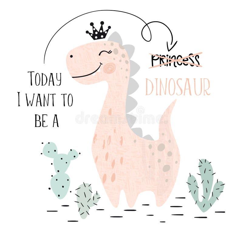 Dinosaurien behandla som ett barn det gulliga trycket för flickan Söt dino prinsessa med kronan Kall brachiosaurusillustration royaltyfri illustrationer