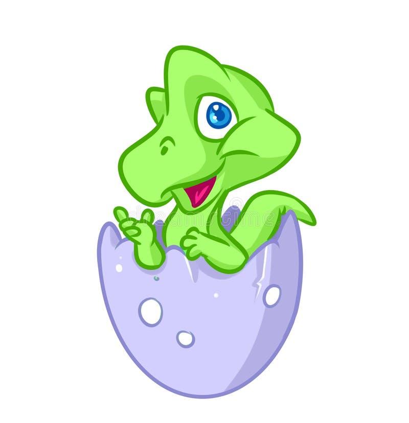 Dinosaurien behandla som ett barn lite äggtecknad filmillustrationen stock illustrationer