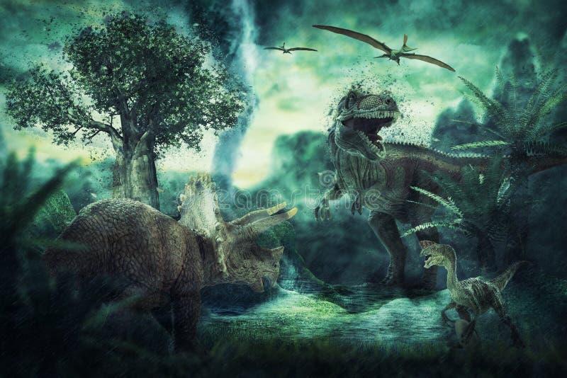 Dinosaurien 3D framför stock illustrationer