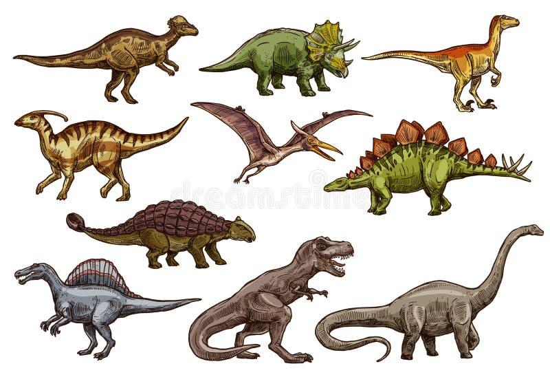 Dinosaurien och det förhistoriska reptildjuret skissar royaltyfri illustrationer