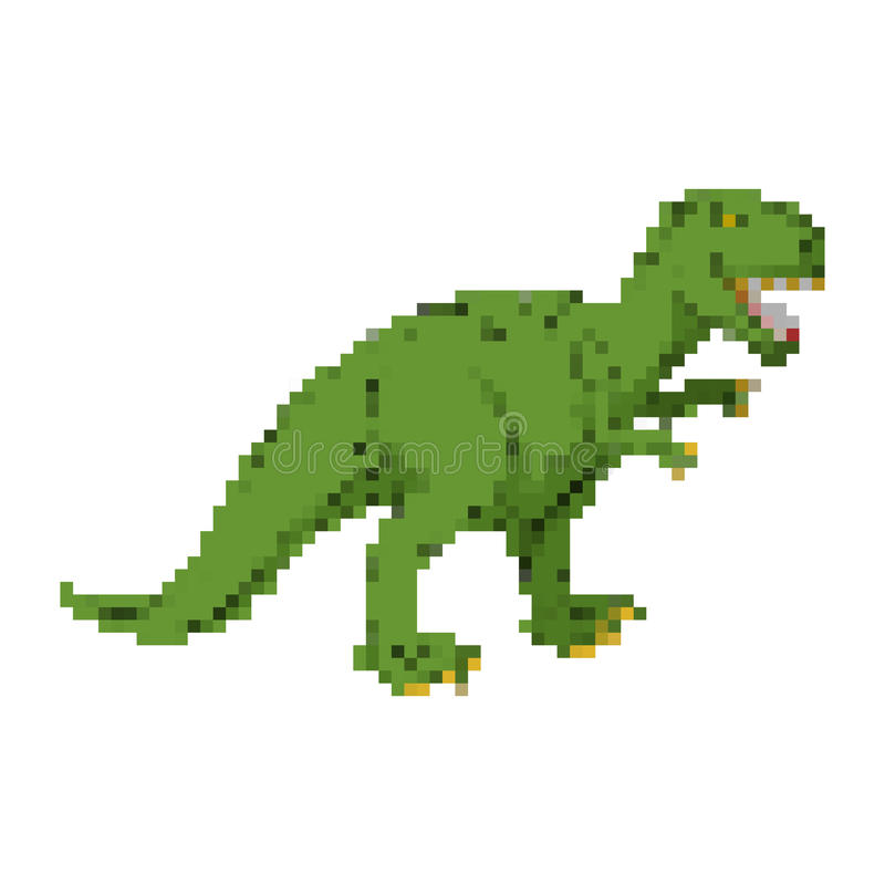 DinosauriePIXELkonst Pixelated tyrannosarie Dino retro lekar 8 royaltyfri illustrationer