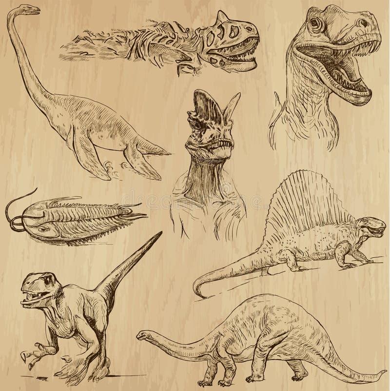 Dinosaurier 1 vektor illustrationer
