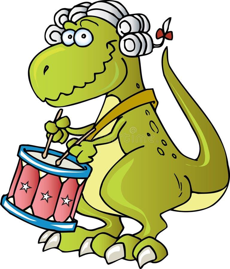 Dinosaurier, der Trommeln spielt lizenzfreie abbildung