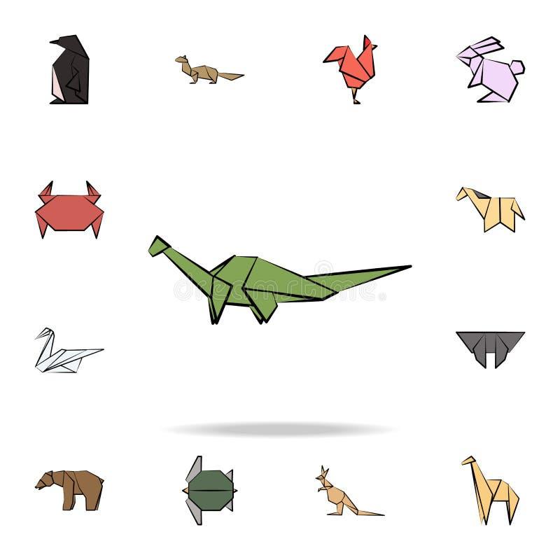 Dinosaurier färbte Origamiikone Ausführlicher Satz Tierin der hand gezogene Artikonen des Origamis Erstklassiges Grafikdesign Ein lizenzfreie abbildung