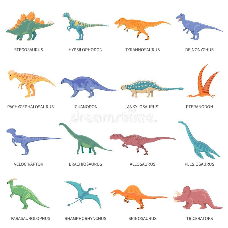 Dinosaurier färgad symbolsuppsättning stock illustrationer