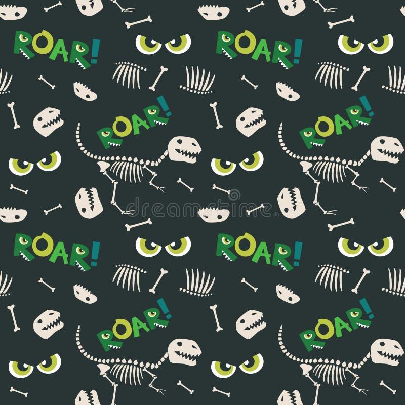 Dinosaurier-Fossil-Knochen und furchtsames Augen-nahtloses Muster-dunkle Hintergrund-Vektor-Illustration lizenzfreies stockfoto