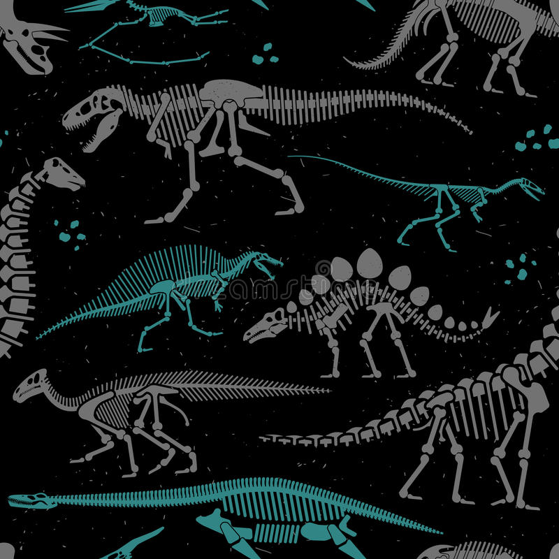 Dinosaurier-Fossilien, Eier, entbeint Skelette lizenzfreie abbildung