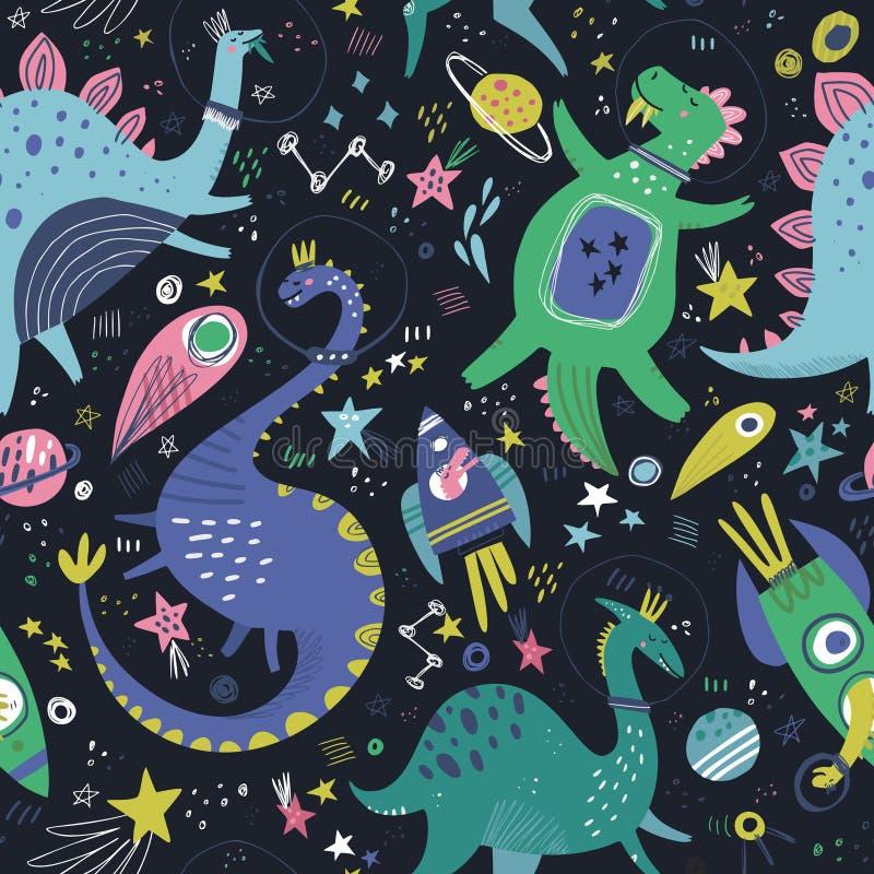 Dinosaurier i modell för utdragen vektor för färg för utrymmehand sömlös royaltyfri illustrationer